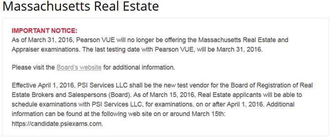 Pearson Vue Notice